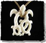 Carved Bone Hawaiian Mother & Babies Turtle Necklace, 'Honu Keikis'.