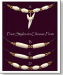 Mako Shark Tooth Necklace with White Bone Bead Design